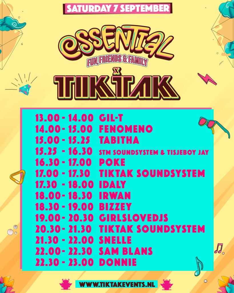 TIKTAK Essential Festival Line up